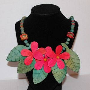 Wood Flower and Leaves Necklace